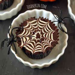 1. Chocolate Spiderweb Cupcakes - 10 Spooky Recipes For Healthy Halloween Treats