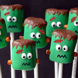 3. Frankenstein Marshmallow Pops - 10 Spooky Recipes For Healthy Halloween Treats