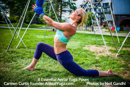 5. Low Lunge in Wrist Wrap - Aerial Yoga Is It Right For You